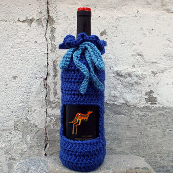 Royal Blue Wine Cozy - Crochet Wine Bag - Bottle Gift Bag - Wine Holder