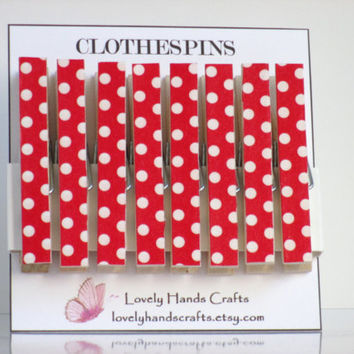 Decorative Wooden Christmas Clothespins, Red and White Polka Dots, Set of 8