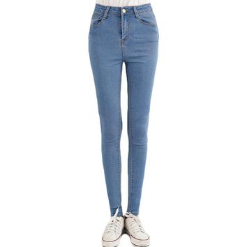 Top Quality Vintage High Waist Skinny Jeans Woman 2017 Spring Autumn New Fashion Women Slim Denim Jeans Pants Trousers Femme
