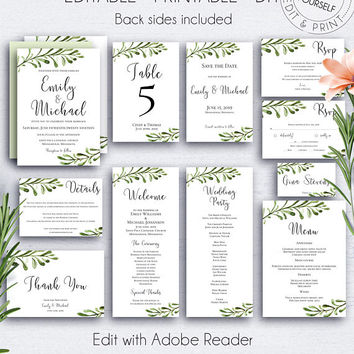 Botanical Wedding Invitation Suite, Weddings, Customize, Invitation Set, Green Leaves, Save the Date, DIY Wedding Template, Greenery