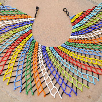 Radial shoulder necklace,Beaded collar necklace,Tribal fashion,colourful Zulu necklace,ethnic African statement necklace,South African