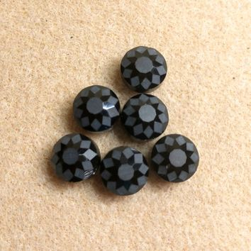 CCOIN-003 - Chinese Crystal Coin Beads,Jet,14x9mm | Pkg 6