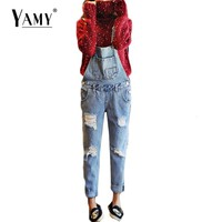 Spring 2017 fashion vintage ripped rompers womens jumpsuit pockets casual loose jeans denim overalls women clothing