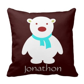 Cute Polar Bear; Chocolate & Aqua Pillow, Add Name