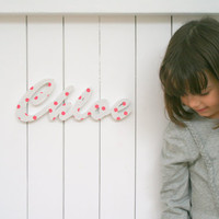 Kids wood name sign, fabric and wood word, door sign - nursery decor and children's room decor, listing for Chloe