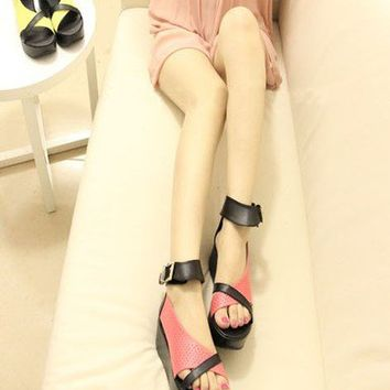 Casual Womens Shoes Thick Platforms Ankle Strap Sandals Summer Breathable 1lU