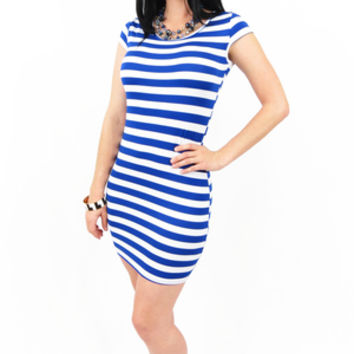 Blue and White Striped Tunic Dress