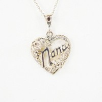 """Heart Shape """"Nana"""" Pendant w/Roses on Dainty Link Chain, Gold and Silver Tones, Marked PERU, Vintage 1960s 1970s, Gift for Grandma"""