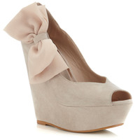 Wham Nude Chiffon Bow Wedge - Wedges - Shoes - Miss Selfridge