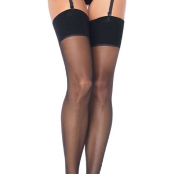 Plus Size Sheer Garter Belt and Stocking Set