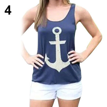 Loose Vest Casual Tank Top - Blouse Anchor Logo - Bowknot Back - Blue