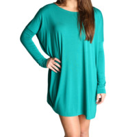 Green Piko Tunic Long Sleeve Dress
