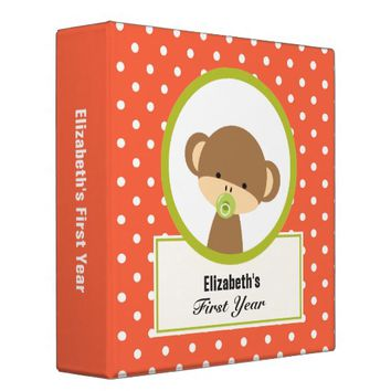 Cute Baby Monkey with a Pacifier on Polka Dots Binder