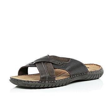 River Island MensBrown leather chunky cross over sandals