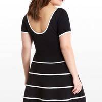 Plus Size Flare Dress with Contrast Piping | Fashion To Figure