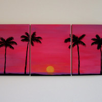 Beach Decor Palm Tree Art Triptych Painting - Pink Wall Art Beach Nursery Decor Beach Bedroom Canvas Wall Art - Coastal Art Sunset Painting