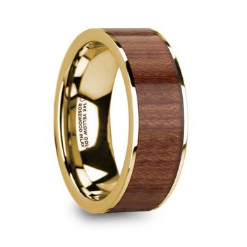 Exotic Rosewood Inlay Yellow Gold Ring, 14K, Flat