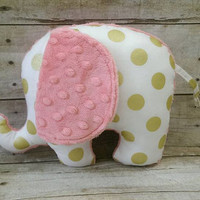 Gold & coral baby elephant plush - gold polka dot watermelon elephant stuff animal - gold coral nursery decor - elephant baby boy