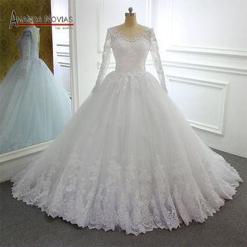 Long sleeves lace wedding dress ball gown new model design brand