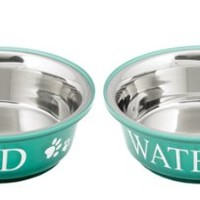Buddy'S Line Non-Skid Stainless Steel Fusion Food/Water Serving Pet Bowl, Teal/White, 1-Pint