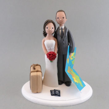 Customized  Bride & Groom Travel Theme Wedding Cake Topper