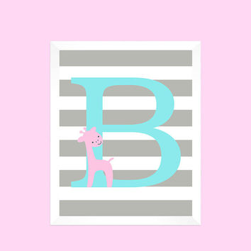 Light Aqua First Initial on Gray Stripes with Giraffe Nursery Art CUSTOMIZE YOUR COLORS 8x10 Prints Nursery Decor Print Art Baby Room Decor