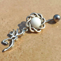 Browning Deer Head White  with Knot Fits in Navel Belly Ring Body Jewelry