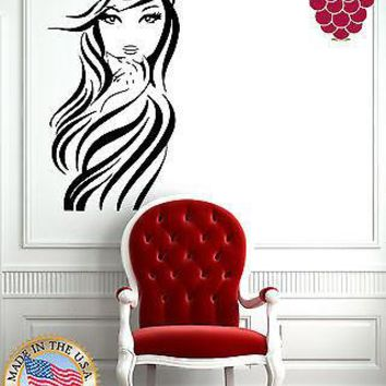 Wall Stickers Vinyl Decal Young Sexy Girl Long Wavy Hair Beauty Salon EM566