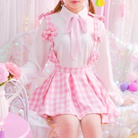 Kawaii Plaid Suspender Skirt