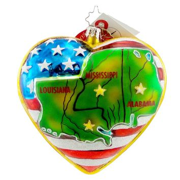 Christopher Radko IN THE HEARTS OF AMERICA Glass Usa Flag Charity 1012668