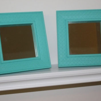 Pair of small shabby chic square mirrors, hand-painted in Annie Sloan turquoise chalk paint