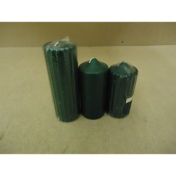 Designer Lot of 3 Candles Green 5in to 8in Tall Wax -- New