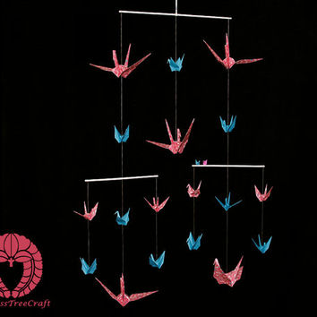 Origami crane mobile for kids - Pink and blue - Birth gift, Gift idea