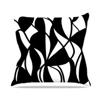 "Emine Ortega ""Sinuous"" Black White Outdoor Throw Pillow"