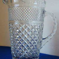 LARGE VINTAGE ANCHOR WEXFORD 64 OZ. CLEAR PITCHER