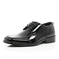 River Island Boys black patent lace up shoe