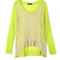 Oversized Cut Out Knit Top in Color Block Design with Dip Hem