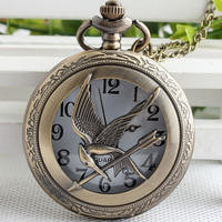Hunger Games Pocket Watch Necklace,Mockingjay Watch Necklace
