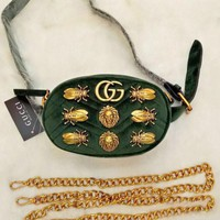Gucci Green Waist Bag With Shoulder Bag Fasion Small Bag Lion head-Cute Cicada bag