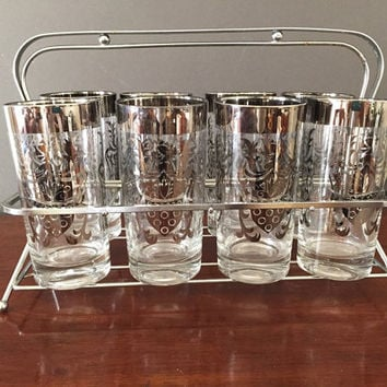 Mid Century Silver Rimmed Kimiko High Ball Glasses with Caddy, Set of 8 Silver Rimmed Mid Century Tumblers,Crest Design, Vintage Glassware