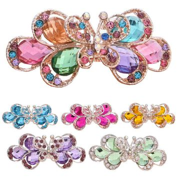 2016 New Fashion Retro Vintage Women Ladies Girls Crystal Rhinestone Butterfly Flower Hairpins Wedding Hair Stick Hair Clip