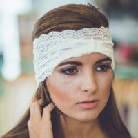 Vintage Lace Headband in Off White