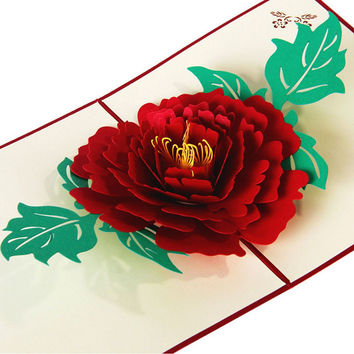 3D Pop Up Paper Laser Cut Greeting Cards Creative Handmade Peony Birthday Christmas Anniversary Souvenirs Postcards