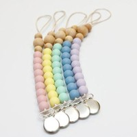 Pacifier Clip Wood + Silicone