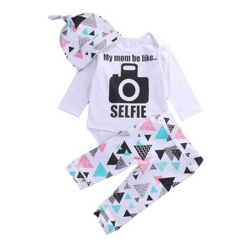 "Newborn Baby ""My Mom Be Like SELFIE"" 3pcs Hat, Onesuit and Pants Set"
