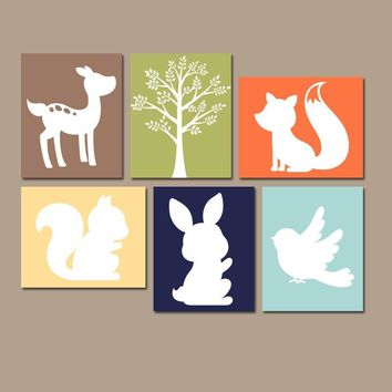 WOODLAND Nursery Wall Art, Woodland Nursery Decor, Woodland Animals Art, CANVAS or Print, Wood Forest Animals, Gender Neutral, Set of 6