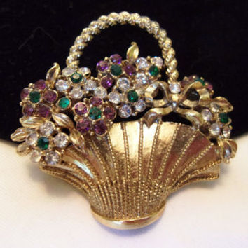 Craft Flower Basket Brooch Glass Rhinestone Gold Plate Vintage Pin 1960s