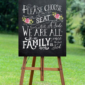 chalkboard wedding sign, printable wedding sign, pick a seat wedding sign, digital wedding sign, pick a seat not a side sign,  16x20