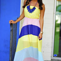 RESTOCK Pastel Class Maxi Dress: Multi | Hope's