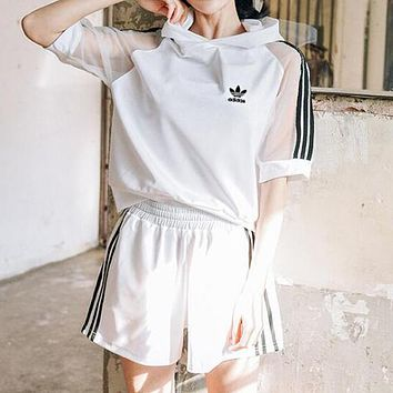 Adidas Fashion Women Short Sleeve Hoodie Running Sport Gym Set Two-Piece Sportswear White